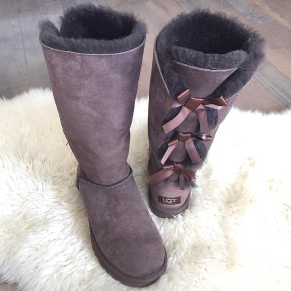 2150db0b00b UGG Bailey Tall Triple Bow Boots Chocolate Brown